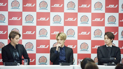 JYJ's press conference in Tokyo. Photo: C-JeS Entertainment.