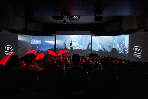 A cutting-edge three-screen surround viewing technology in SMTOWN@coexartium. Photo: S.M. Entertainment.