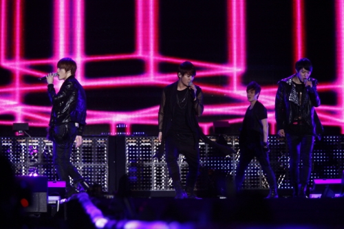 "JYJ performing ""Ayyy Girl"" in Seoul. Photo: C-JeS Entertainment."