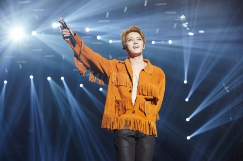 "Kim performing ""지켜줄게(I'll Protect You)"" in Seoul. Photo: C-JeS Entertainment."
