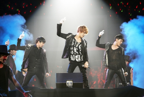 "JYJ performing ""Be The One"" in Busan. Photo: C-JeS Entertainment."